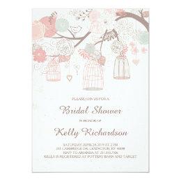 Pink Birdcage Bridal Shower Invitation