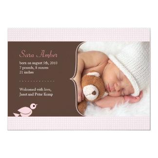 """Pink Birdie Baby Announcement 5"""" X 7"""" Invitation Card"""