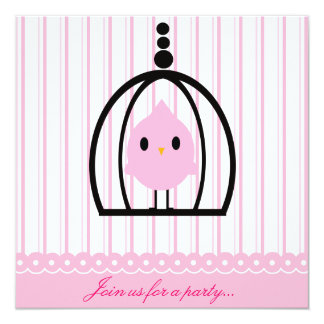 Pink Birdie Party Invitation