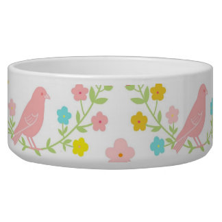 Pink birds and blue butterflies dog food bowls