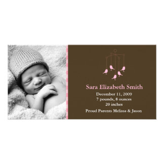 Pink Birds Baby Mobile Birth Announcements