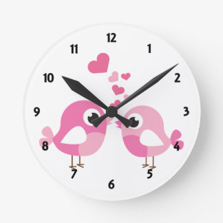 Pink Birds Childrens Learning Round Clock