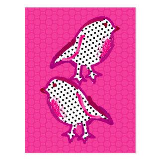 'pink birds' digital painting Postcard