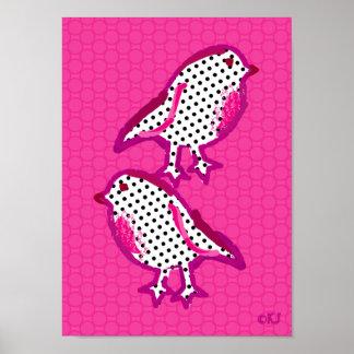 'pink birds' digital painting poster