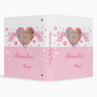 Pink Birds & Flowers Photo Baby Girl Album 3 Ring Binder