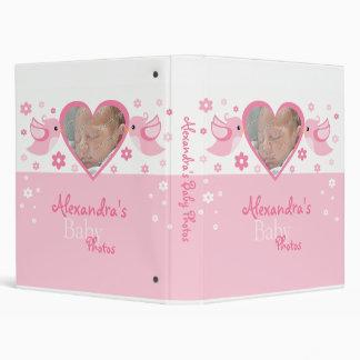 Pink Birds & Flowers Photo Baby Girl Album 3 Ring Binders