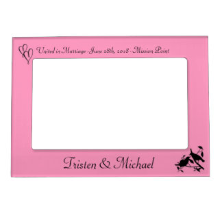 Pink Birds & Hearts Wedding Photo Magnetic Picture Frame