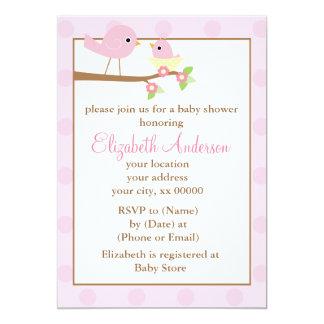 "Pink Birds in a Nest Baby Shower 5"" X 7"" Invitation Card"