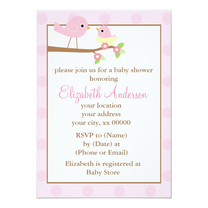 Pink Birds in a Nest Girl Baby Shower Card