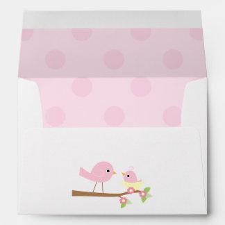 Pink Bird's Nest Baby Shower Envelope