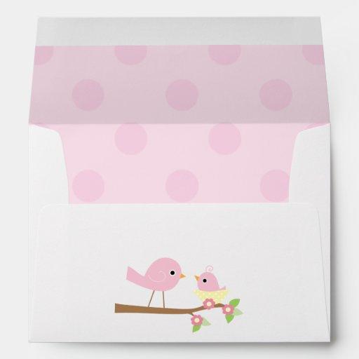 pink bird 39 s nest baby shower envelope zazzle
