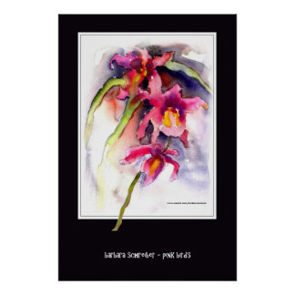 pink birds - orchids poster