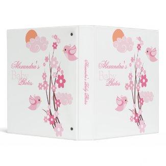 Pink Birds Spring Flowers Baby Girl Album binder