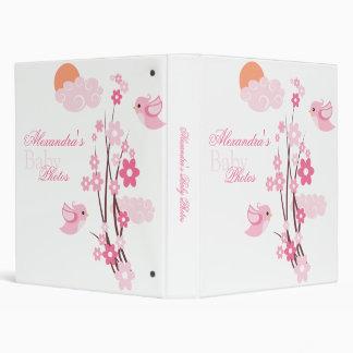 Pink Birds Spring Flowers Baby Girl Album Binders