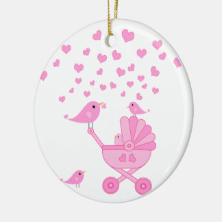 Pink Birds with Stroller - Pink Ceramic Ornament