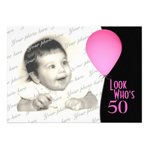 Pink Birthday Balloon with Photo Cards