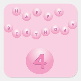 Pink Birthday Balls Age 4 Square Sticker