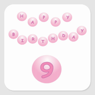 Pink Birthday Balls Age 9 Square Sticker