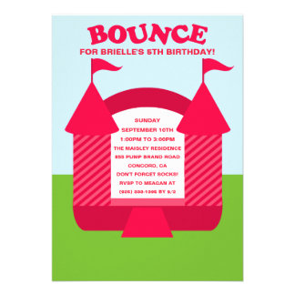 Pink Birthday Bounce Bouncy House Birthday Party Personalized Invitation