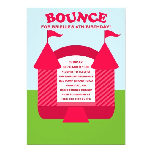 Personalized Bouncy castle birthday Invitations – Bouncy Castle Party Invitations