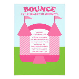 Pink Birthday Bounce Bouncy House Birthday Party Announcement