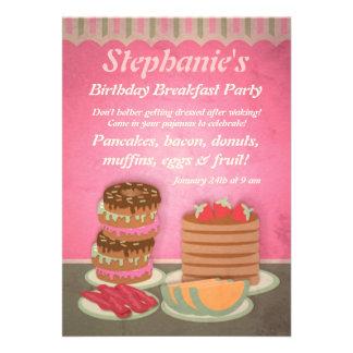 Pink Birthday Breakfast Party Invitations