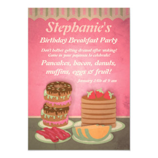 Pink Birthday Breakfast Party Invitations