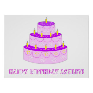 Pink Birthday Cake Birthday Banner Poster