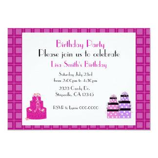 Pink Birthday Cake Party Invitation