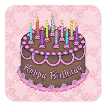 doodlesgifts Pink Birthday Cake sticker