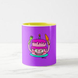 Pink Birthday Cake Two-Tone Coffee Mug