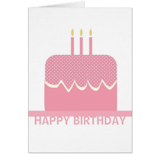 Pink Birthday Cake with Candles Custom Birthday Card