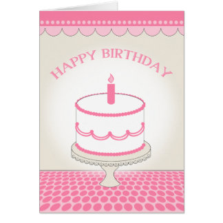 Pink Birthday Card - Cake with Candle
