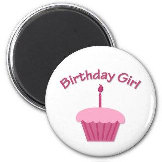 Pink Birthday Cupcake 2 Inch Round Magnet
