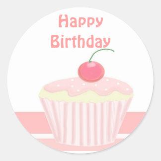 Pink Birthday Cupcake Classic Round Sticker