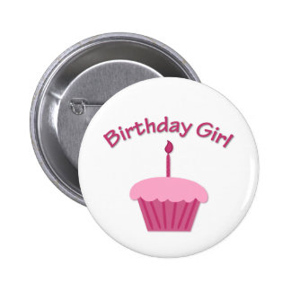 Pink Birthday Cupcake Pinback Button