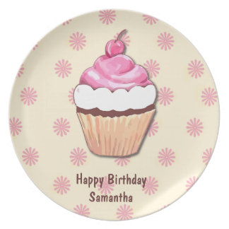 Pink Birthday Cupcake Plate