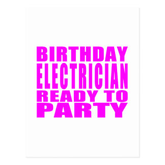 Pink Birthday Electrician Ready 2 Party Postcard