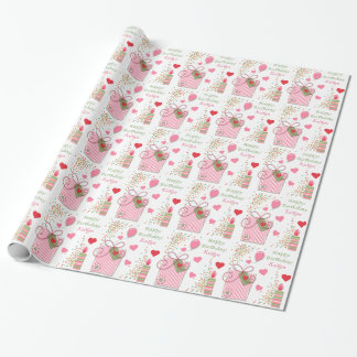 Pink Birthday Gift Hearts Personalized Wrapping Paper
