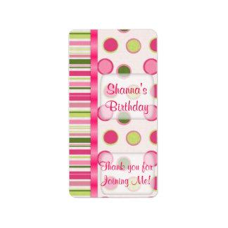 Pink Birthday Hersheys Miniature Candy bar wrap Label