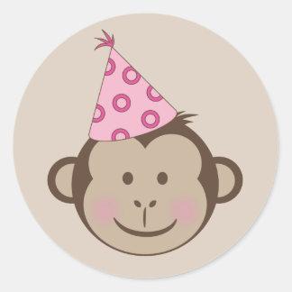 Pink Birthday Monkey Goodie Bag Stickers
