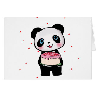 Pink Birthday Panda Bear with Cake Fan Enthusiast Greeting Card