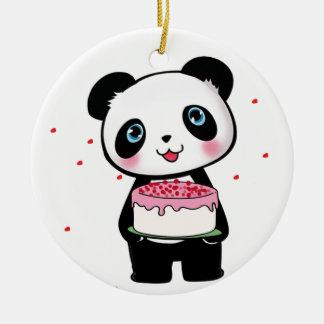 Pink Birthday Panda Bear with Cake Fan Enthusiast Ceramic Ornament
