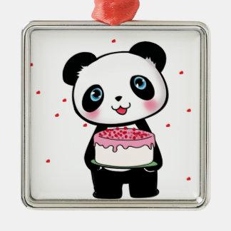 Pink Birthday Panda Bear with Cake Fan Enthusiast Metal Ornament