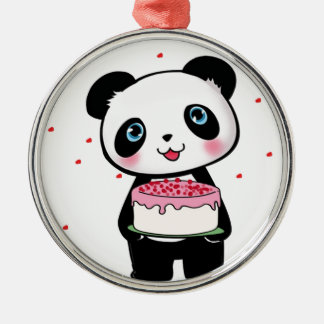 Pink Birthday Panda Bear with Cake Fan Enthusiast Metal Ornament