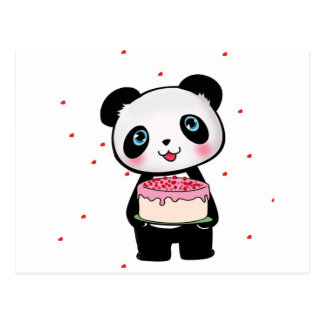 Pink Birthday Panda Bear with Cake Fan Enthusiast Postcard