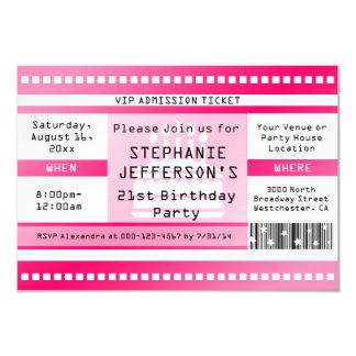Pink Birthday Party Admission Ticket Card