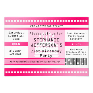 Pink Birthday Party Admission Ticket Invitations