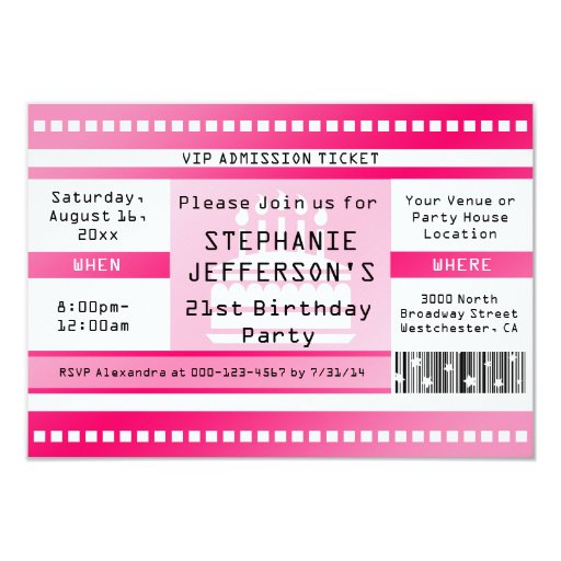 "Pink Birthday Party Admission Ticket 3.5"" X 5"" Invitation Card"