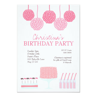 Pink Birthday Party Candy Dessert Table Invite